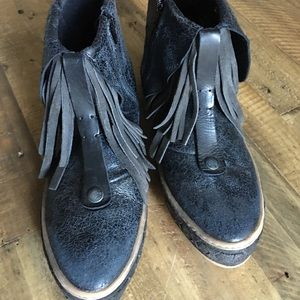 Free People leather moccasin booties